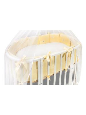 Комплект в круглую кроватку Лежебоки 2 предмета Сонный гномик. Цвет: желтый