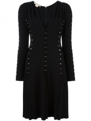 Декорированное платье с V-образным вырезом Antonio Berardi. Цвет: чёрный