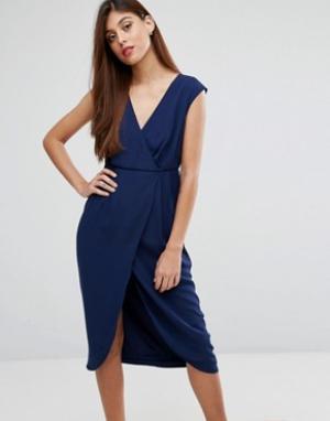 Darling Платье с запахом. Цвет: темно-синий