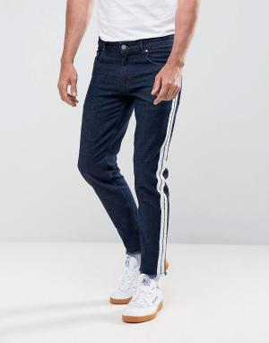 ASOS Узкие эластичные джинсы цвета индиго с полосками в стиле ретро. Цвет: синий