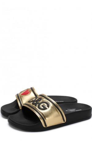 Кожаные шлепанцы с металлизированной отделкой Dolce & Gabbana. Цвет: золотой