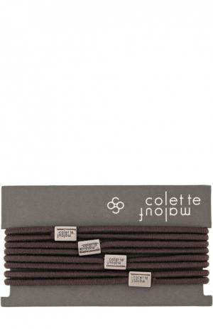 Набор резинок для волос Colette Malouf. Цвет: коричневый