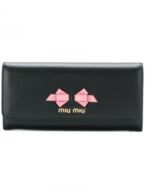 Кошелек с элементом банта Miu. Цвет: чёрный