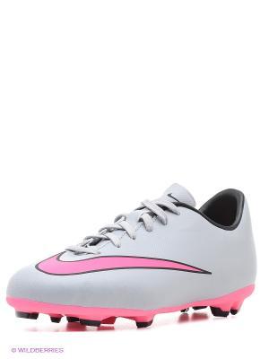 Бутсы JR MERCURIAL VICTORY V FG Nike. Цвет: светло-серый, розовый