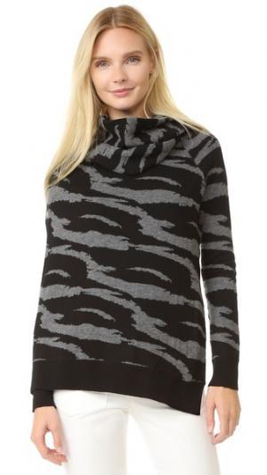 Жаккардовый шерстяной свитер с драпировкой и запахом EDUN. Цвет: черный/серый