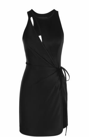Мини-платье с запахом и открытой спиной Alexander Wang. Цвет: черный