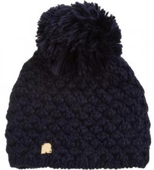 Синяя вязаная шапка с помпоном R.Mountain. Цвет: синий