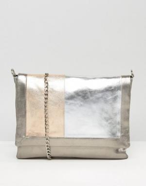 Urbancode Grey Real Leather Tonal Colourblock Bag. Цвет: мульти