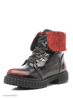 Ботинки Betsy. Цвет: черный, красный