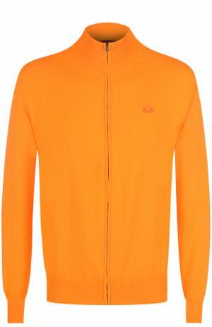 Хлопковый кардиган на молнии с воротником-стойкой La Martina. Цвет: оранжевый
