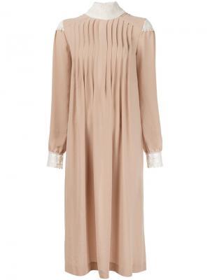 Расклешенное платье Veronique Branquinho. Цвет: телесный