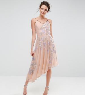 Frock and Frill Tall Асимметричное платье миди с глубоким вырезом на спине. Цвет: фиолетовый
