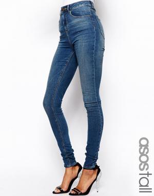 ASOS Tall Тертые cиниe джинсы скинни с завышенной талией PETITE Ridley. Цвет: синий