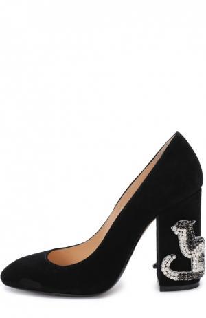 Замшевые туфли на декорированном каблуке No. 21. Цвет: черный