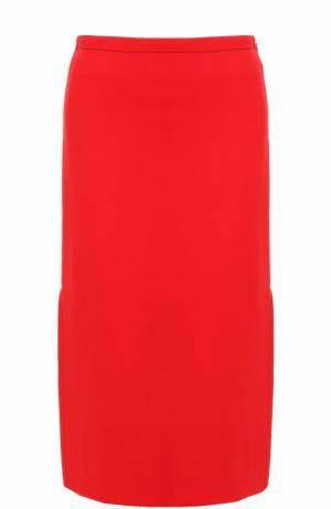 Однотонная шерстяная юбка-миди Marni. Цвет: красный