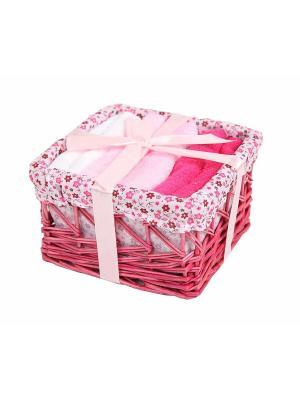 Набор салфеток в корзиночке 30х30 - 6 предметов La Pastel. Цвет: малиновый, молочный
