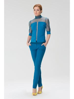 Женская блузка с высоким горлом INDIGIRA. Цвет: бирюзовый