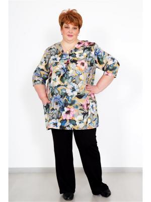 Блузка Lika Dress. Цвет: синий, горчичный, розовый