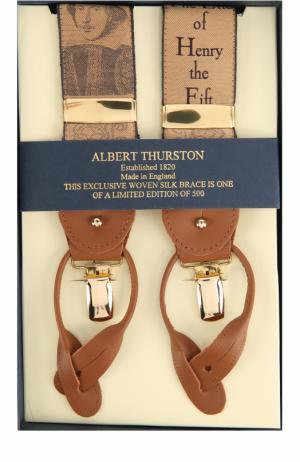 Подтяжки с отделкой из натуральной кожи Albert Thurston. Цвет: бежевый