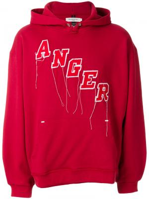 Худи с вышивкой Anger Mr. Completely. Цвет: красный