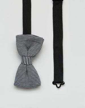 7X Трикотажный галстук-бабочка в полоску. Цвет: черный