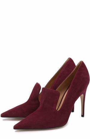 Замшевые туфли с фигурным вырезом Sergio Rossi. Цвет: бордовый