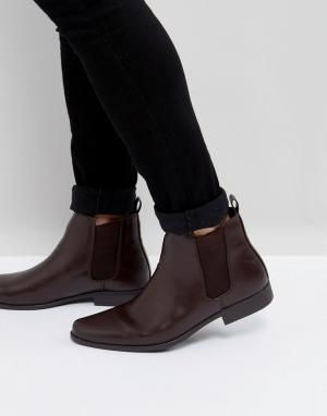 ASOS Бордовые ботинки челси. Цвет: красный