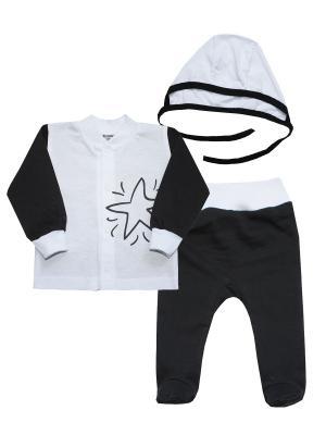 Набор одежды: кофточка, ползунки, чепчик КОТМАРКОТ. Цвет: белый, черный