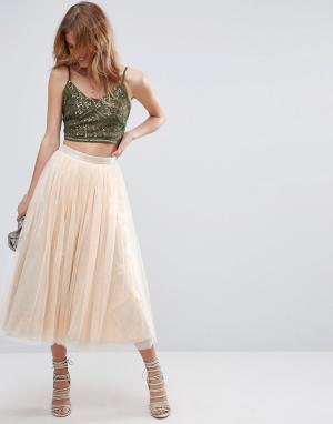 ASOS Тюлевая юбка миди с подкладкой цвета металлик. Цвет: золотой