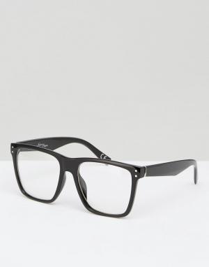 Jeepers Peepers Черные квадратные очки с прозрачными стеклами. Цвет: черный
