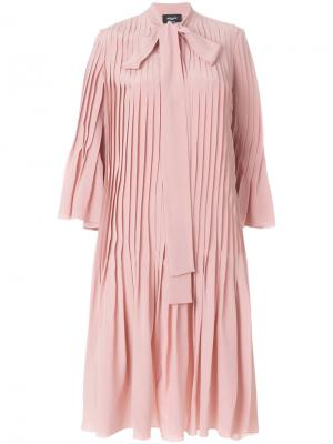 Плиссированное платье-рубашка Rochas. Цвет: розовый и фиолетовый