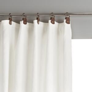 Штора из льна на подкладке с кожаными шлевками, Private AM.PM.. Цвет: пенно-белый