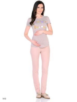 Брюки для беременных EUROMAMA. Цвет: бледно-розовый