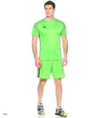 Футболка спортивная Adidas. Цвет: зеленый