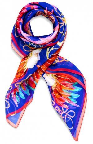 Шелковый платок Imperial Feathers Lalique. Цвет: синий