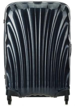 Средний синий чемодан на колесах Samsonite. Цвет: синий