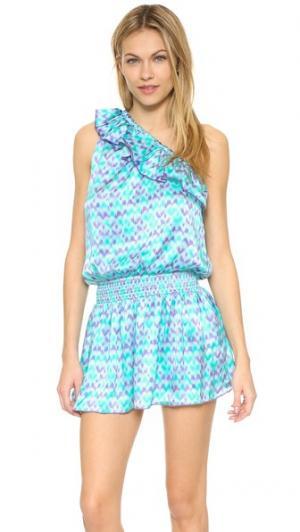 Платье Riviera PALOMA BLUE. Цвет: нефритовый узор в технике икат