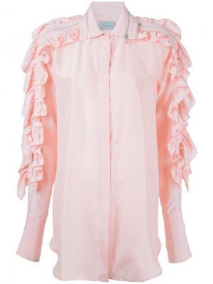 Рубашка с рюшами Preen By Thornton Bregazzi. Цвет: розовый и фиолетовый