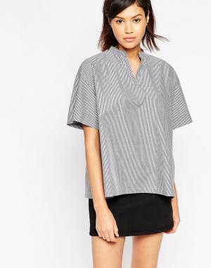 Tired Of Tokyo Свободная рубашка в полоску. Цвет: черный