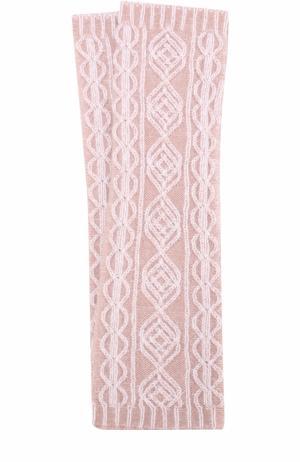 Кашемировые рукава с фактурной вязкой Johnstons Of Elgin. Цвет: розовый