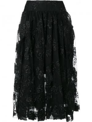 Жаккардовая юбка миди из тюля Simone Rocha. Цвет: чёрный