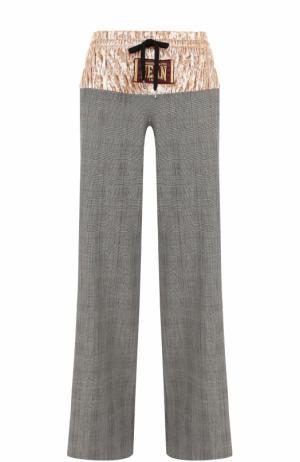 Шерстяные брюки в клетку с бархатной вставкой Stella Jean. Цвет: серый