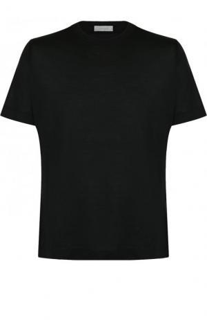 Шелковая футболка с круглым вырезом Cortigiani. Цвет: черный