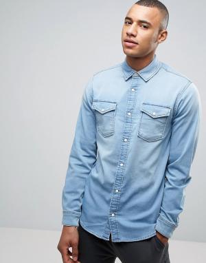Jack & Jones Трикотажная джинсовая рубашка зауженного кроя Intelligenc. Цвет: синий