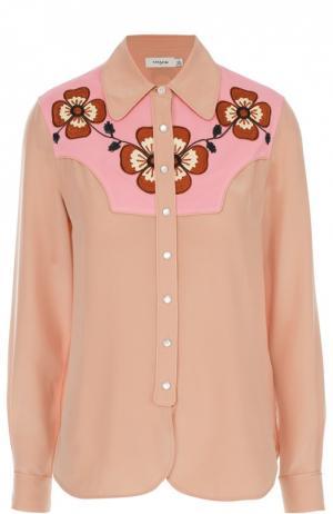 Шелковая блуза прямого кроя с контрастной отделкой Coach. Цвет: розовый