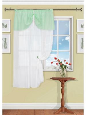 Штора на тесьме, Alina Kauffort. Цвет: белый, зеленый