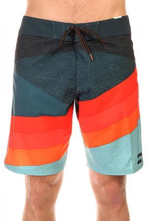 Шорты пляжные  Slice X 19 Overcast Billabong. Цвет: синий,оранжевый,красный