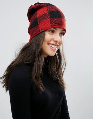 Plush Черно-красная шапка-бини на флисовой подкладке. Цвет: черный