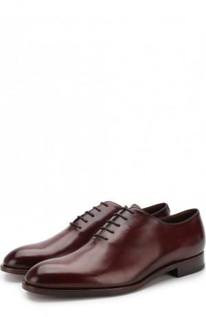 Кожаные оксфорды на шнуровке Fratelli Rossetti. Цвет: бордовый