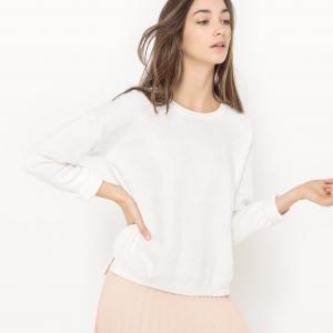 Пуловер с круглым вырезом, вышивкой и кисточками SUNCOO. Цвет: экрю